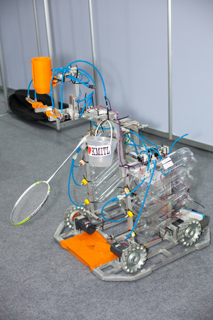 hitter: BANGKOK ,THAILAND - JULY 18: Prototype robot badminton hitter in  Engineering Expo 2015 , on JULY 18, 2015 in Bangkok, Thailand. Editorial