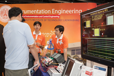temperature controller: BANGKOK ,THAILAND - JULY 18: Unidentified people interesting with  main power control  in Engineering Expo 2015 , on JULY 18, 2015  in Bangkok, Thailand. Editorial