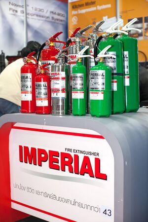 extinguishers: BANGKOK ,THAILAND - JULY 18: Fire extinguishers  at Engineering  Expo 2015 , on JULY 18, 2015 in Bangkok, Thailand.