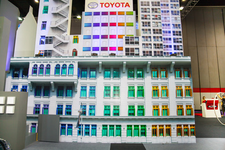 exhibitor: BANGKOK - 01 de agosto: el stand de la ciudad de TOYOTA en Big Motor Venta 2015 en agosto 1,2015 en BITEC, Bangkok, Tailandia. Editorial