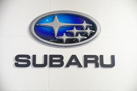 BANGKOK - AUGUST 1 :SUBARU logo on display at Big Motor Sale 2015 on  Aug 1,2015 in BITEC ,Bangkok, Thailand. 新聞圖片