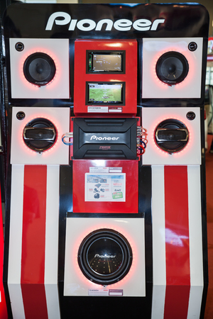 party system: BANGKOK - AUGUST 1 :Pioneer sound test box at Big Motor Sale  2015 on August 1,2015 in BITEC ,Bangkok, Thailand.