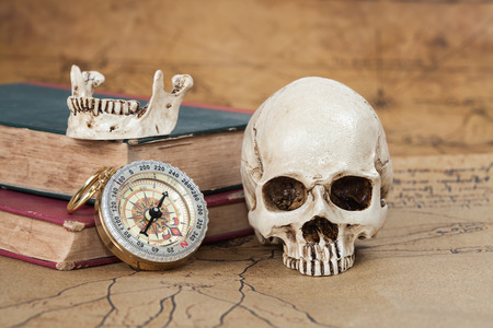 old paper background: Human Skull and compass on Old map Background