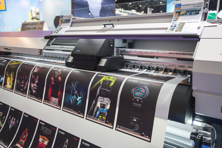 BANGKOK - AUGUST 29 :Printing with LED Proofing Lights machines  at Pack Print and T-PLAS THAILAND on Aug 29,2015 in BITEC  ,Bangkok, Thailand