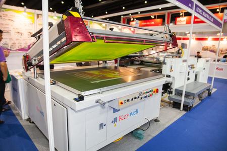screen print: BANGKOK - AUGUST 29 : Screen Print machinery at Pack Print and T-PLAS  THAILAND on Aug 29,2015 in BITEC ,Bangkok, Thailand.