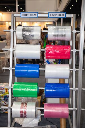 polyethylene film: BANGKOK - AUGUST 29 :HDPE polymer film and LDPE film  tool at Pack Print and T-PLAS THAILAND on Aug 29,2015 in BITEC ,Bangkok, Thailand.
