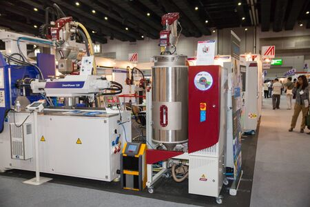moulding: BANGKOK - AUGUST 29 : Plastic injection machinery at Pack Print and T-  PLAS THAILAND on Aug 29,2015 in BITEC ,Bangkok, Thailand. Editorial