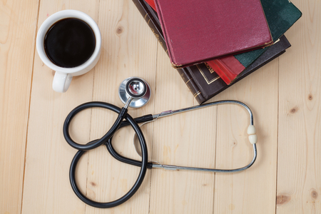 doctors tool: coffee cup and stethoscope, relaxing concept for doctor