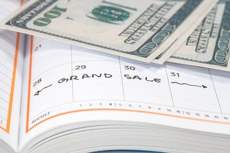 grand sale: Appointment for grand sale , concept image of a calendar Stock Photo