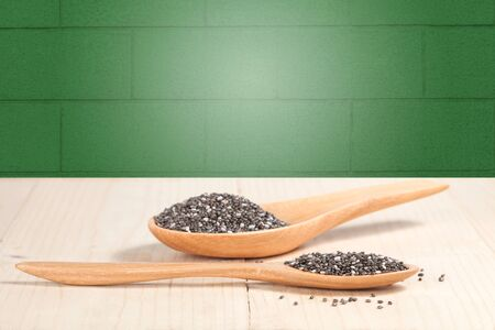 flavorings: chia seeds in  wooden spoon