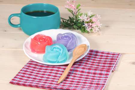 pectin: Thailand tradition ,Flower Dessert  Jelly on wood
