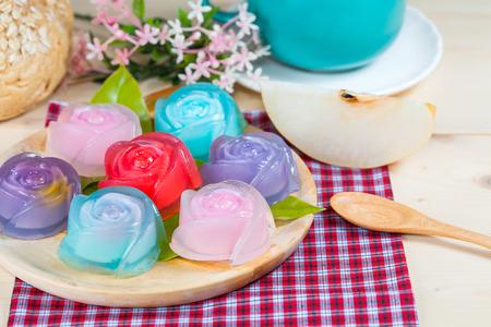 Thailand tradition ,Flower Dessert Jelly on wood
