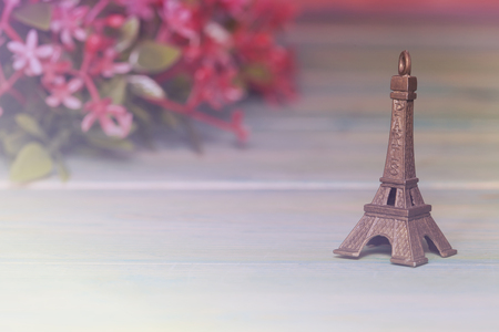 peace concept: Eiffel Tower Toy .Paris Icon , peace, hope Stock Photo