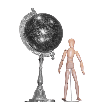 proportions of man: Wooden figure and globe ball, isolated on white background