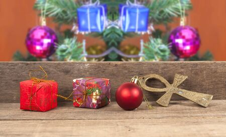 wall decor: Christmas gift boxes, decor in front of wooden wall