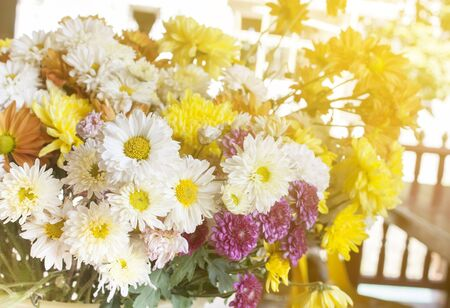 bouquet fleurs: Beautiful yellow  flowers on  table on green background Banque d'images