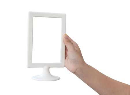 woman hand holding a blank menu frame on a white background Stock Photo