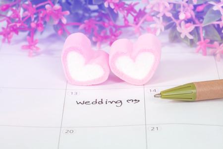 wedding heart: wedding plan on calendar and heart shape