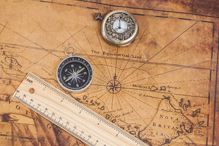 Old Style Brass Compass On Antique Map Stock Photo Picture And - Antiques us maps with compass