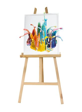 mocked: Painting stand wooden easel with color palette  canvas poster sign board isolated