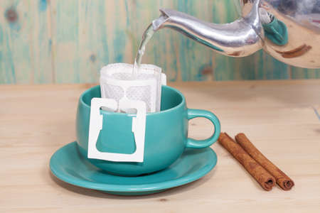 non alcoholic beverage: drip coffee with hot water