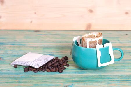 mocca: coffee drip in cup and coffee drip package