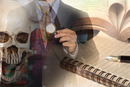 stetoscope: Double exposure of business man hand holding a  stetoscope.