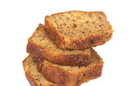 Homemade banana bread sliced on white background 版權商用圖片