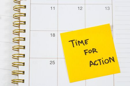 evolve: Time for action text on calendar