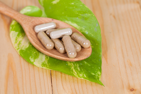alternative living: Capsules of herbs on spoon. healthy eating for healthy living.