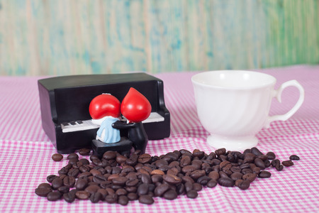 coffee table: coffee beans  on table Stock Photo