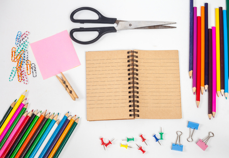 concept and office supplies on white Stock Photo