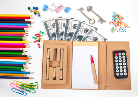 overdraft: concept and office supplies on white Stock Photo
