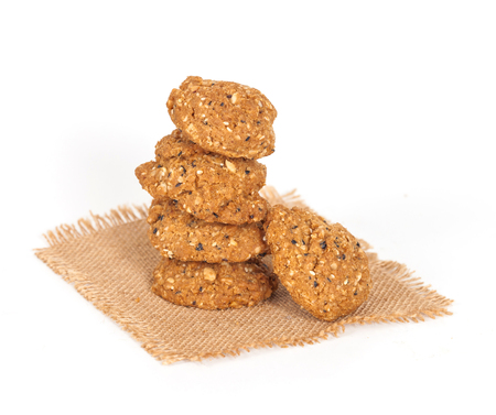 thoroughly: Homemade with whole grain cookies , isloated on white