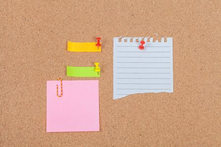 pin board: Note paper with  pin on the cork board