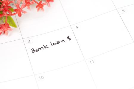arrears: Reminder bank loan in calendar