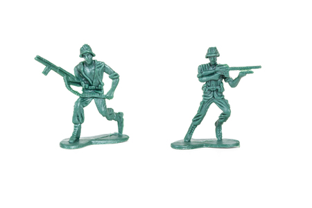 plastic soldier: miniature  soldiers toy  on white background
