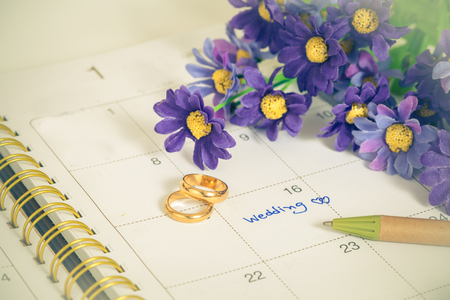 ring tones: Wedding note on a calendar sets a reminder for the wedding day