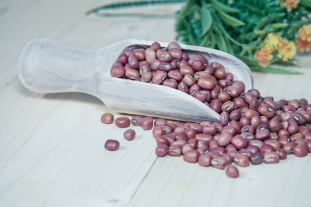 wooden spoon and Red beans background
