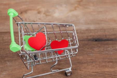 red heart sign in shopping cart Stock Photo