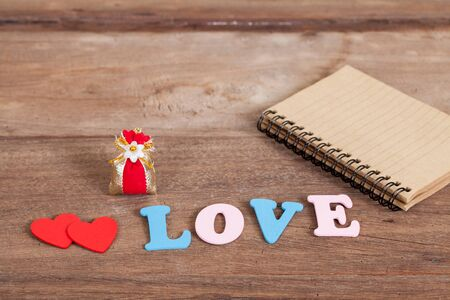color love letters on wood Stock Photo