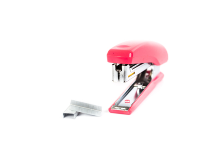 Pink Stapler isolated on white background 版權商用圖片