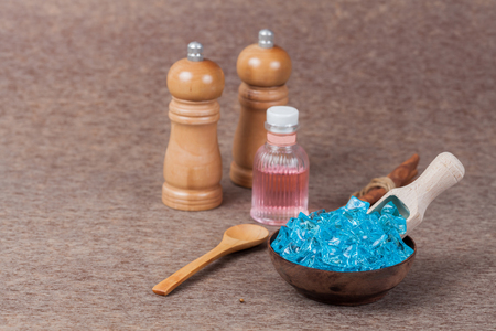 menthol: Blue camphor herb in wood cup,use for health spa