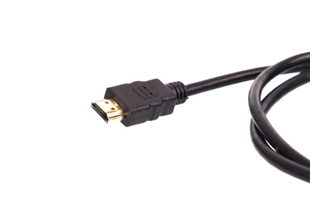 hdmi: HDMI connector cable on white background.