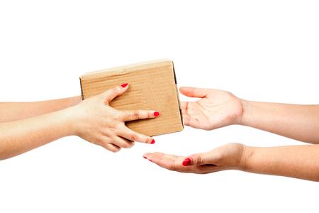 hand holding box to someone on white background Stock Photo
