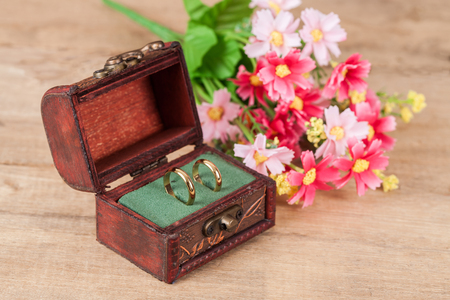 Duo ring in box for the wedding day