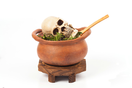 Skull in clay pot with some herba on white background Stock Photo