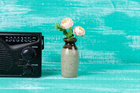 receiver: old radio receiver on table