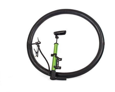 pumping air into bike tire