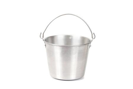 Old aluminum bucket isolated on white background